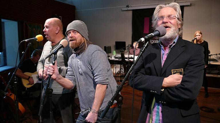 Bengt-Åke Rundqvist, Palten Jonsson och Evert Jansson. Foto: Mika Koskelainen/Sveriges Radio