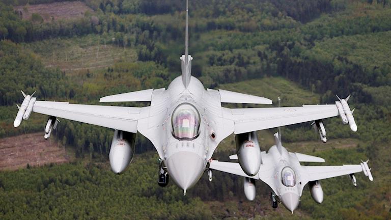Norskt F-16-flyg. Foto: Henrik Skolt/TT