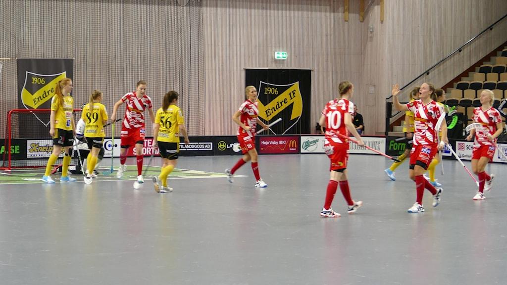 Pixbo gör 1-1 mot Endre i svenska superligan i innebandy. Foto: Tomas Ardin/Sveriges Radio