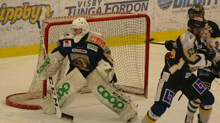 Målvakt Sammy Gustafsson i Visby Roma
