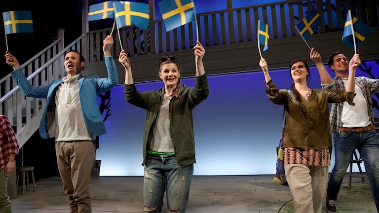 Vilhelm Blomgren, Kerstin Hilldén, Maria Lindström och Andreas Gyllander. Foto: Stig Hammarstedt