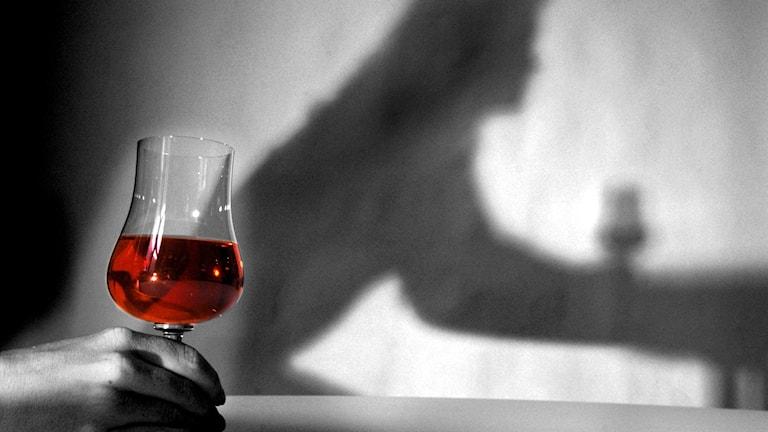 Skuggan av en kvinna med ett glas rött vin