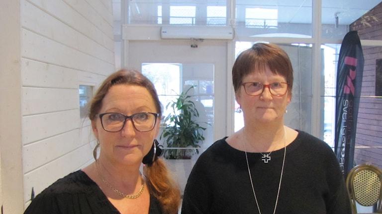 Maria Björkman(S) och Therese Annas Ljung, Vårdförundet Gotland. Foto: Anna Jutehammar/ Sveriges Radio