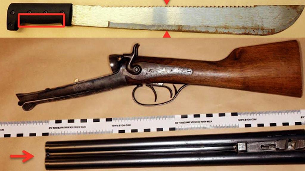 Machete och gevär från Othemsrånet.