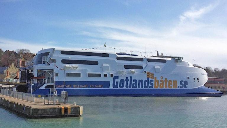 Gotlandsbåten i Visby hamn