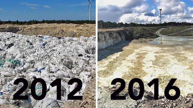 Kalkbrottet i Bro - före och efter plaststädning