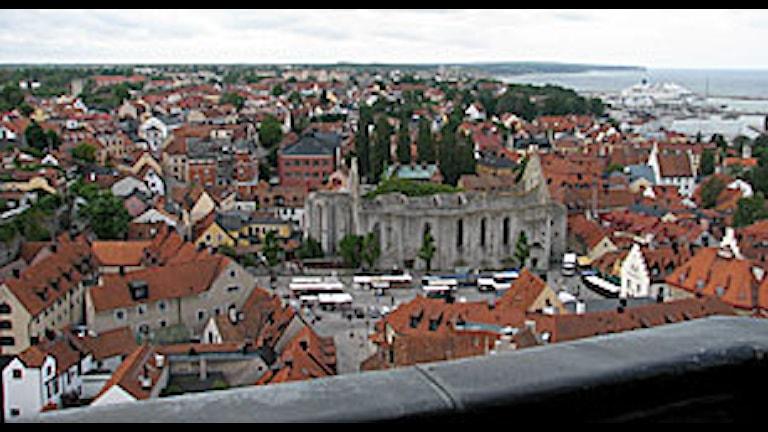 Vy över Visby innerstad.