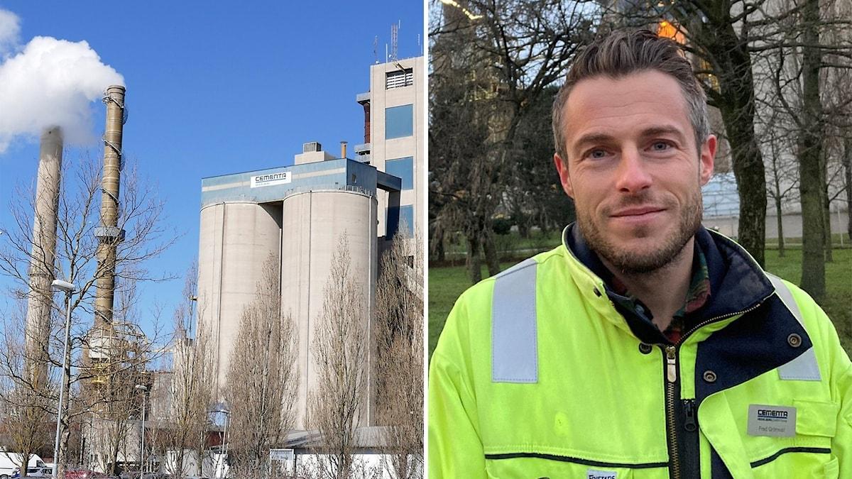 Till vänste: Cementas fabrik i Slite. Till höger: Fred Grönwall.