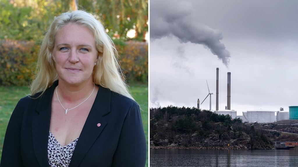 Till vänster: Hanna Westerén. Till höger: Preems raffineri i Lysekil.