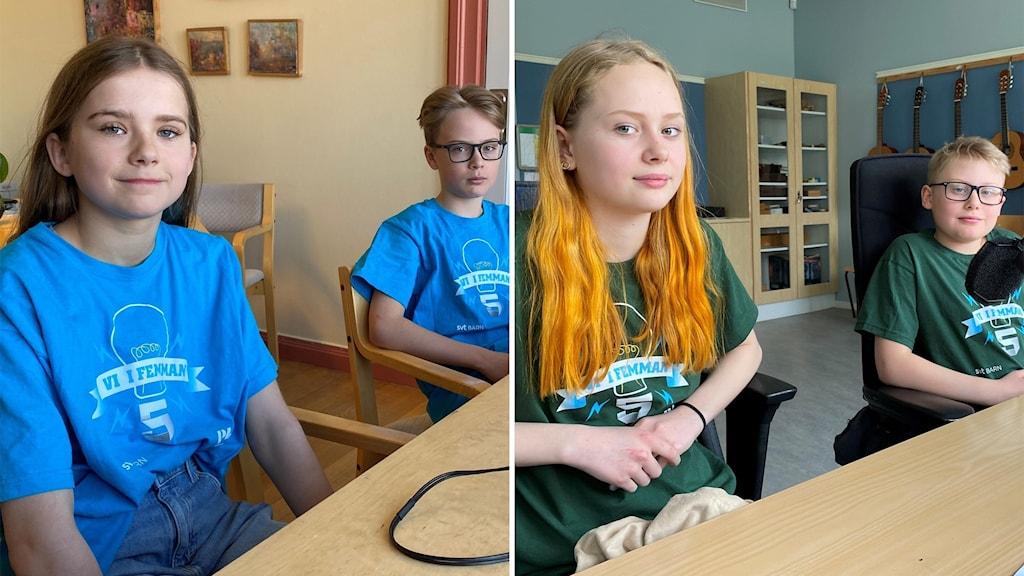 Två elever i blåa och två elever i gröna Vi i femman-tröjor sitter framför två mikrofoner.