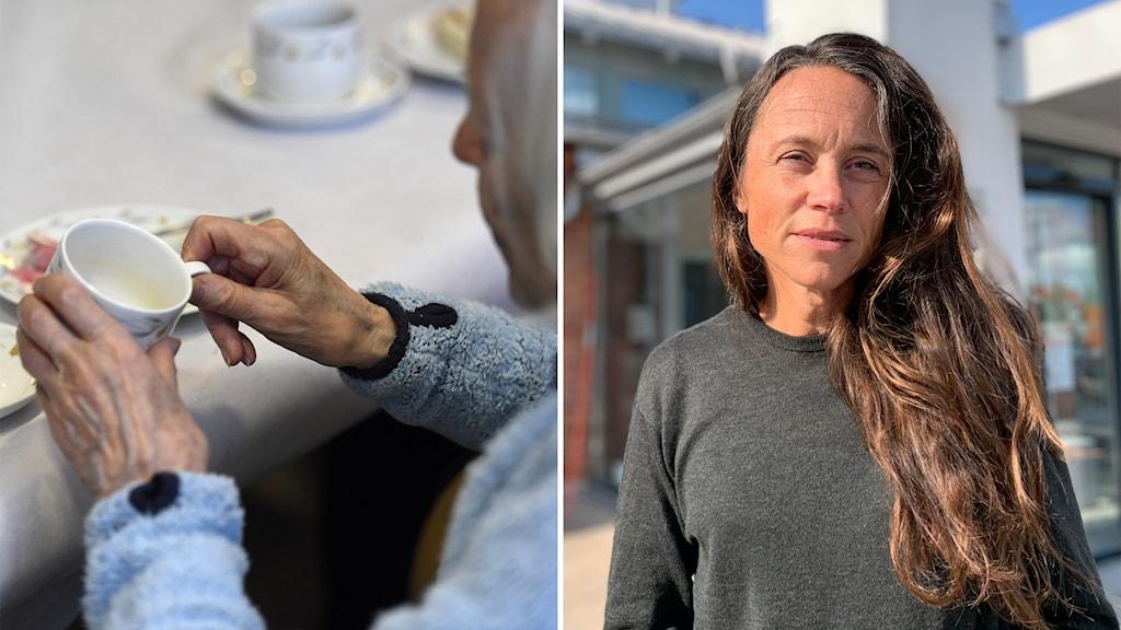 Till vänster: En kvinna håller en kaffekopp. Till höger: Smittskyddsläkare Maria Amér.