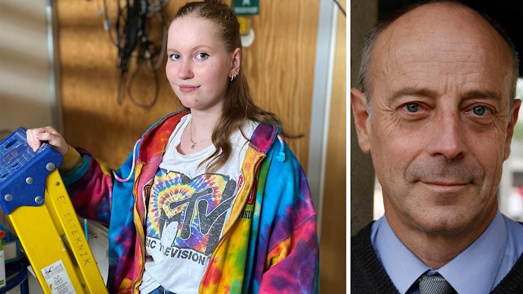 Till vänster: En ung kvinna i färgglad jacka står bredvid en gul stege. Till höger: En porträttbild på en man i skjorta och slips.
