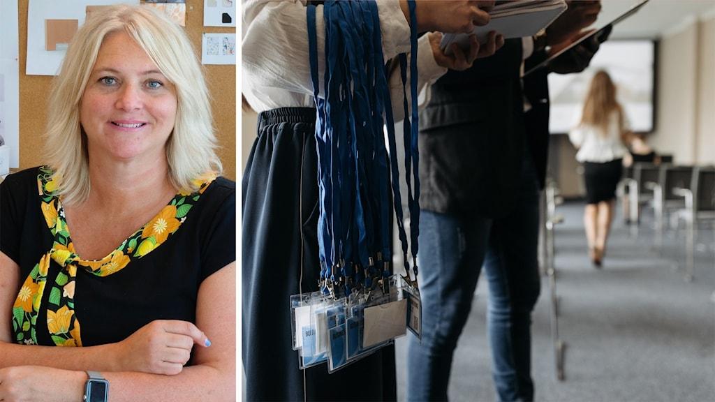Bilden är tvådelad: Till vänster syns en blond kvinna på ett kontor; till höger personer på en konferens.