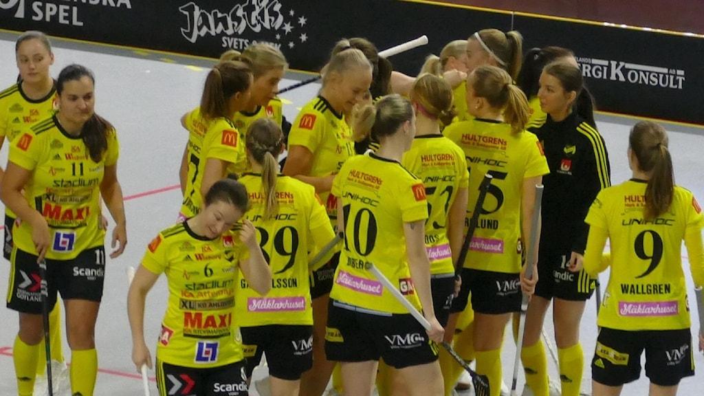 Innebandyspelare i klunga efter mål. Foto: Owe Järlö/Sveriges Radio