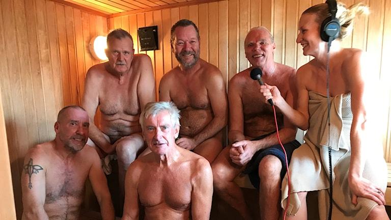 Nicko, Mikael Nyman, Erland Pettersson, Bengt Andersson och Kent Larsson bastade i P4 Gotlands direktsändning med reportern Hanna Sihlman.