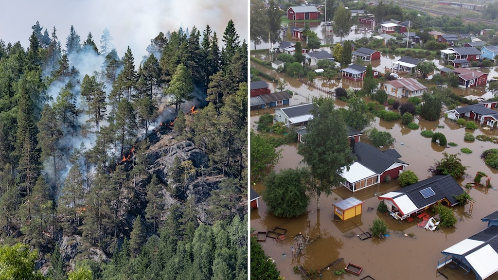 Till vänster: En skogsbrand härjar i Norge. Till höger: Hus under vatten i Gävle.