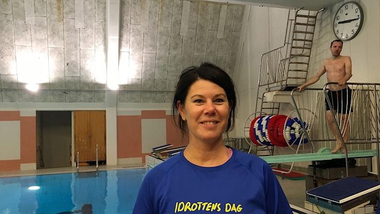 Simhoppstränaren Petra Wate och simhopparen Christoffer Södergren