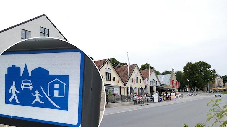 Det är gångfartsområde i Visby Hamn under sommaren.