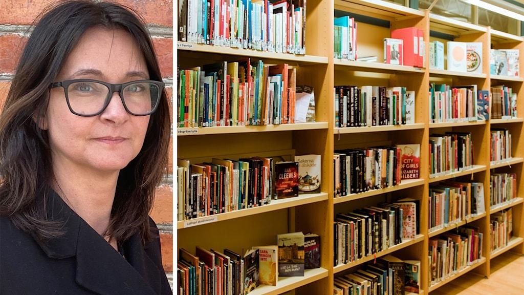Till vänster: En kvinna i mörkt hår och mörka glasögon. Till höger: En bokhylla på ett bibliotek.