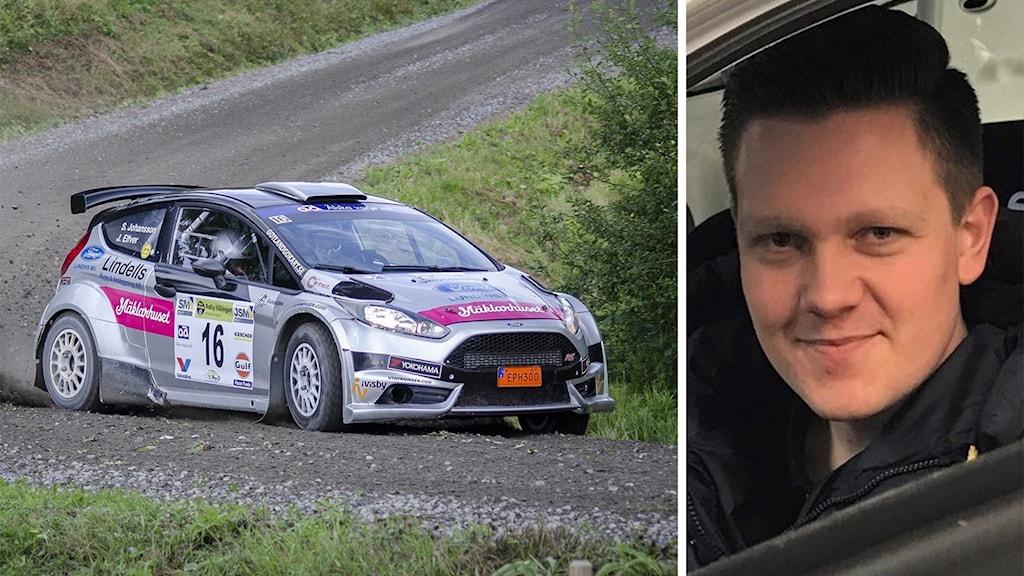 Till vänster: En rallybil på en grusväg. Till höger: En man med mörkt hår.