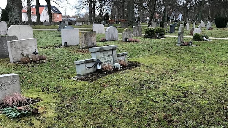 Delar av en spade ligger kvar bland gravarna på södra delen av kyrkogården.