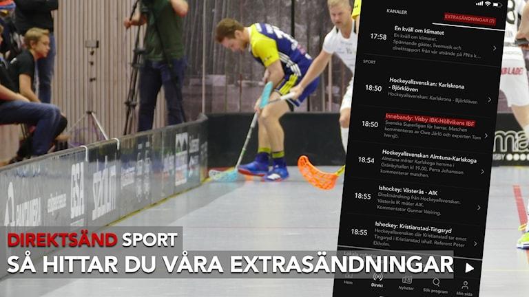 Direktsänd sport, guide för appen. Extrasändningar.
