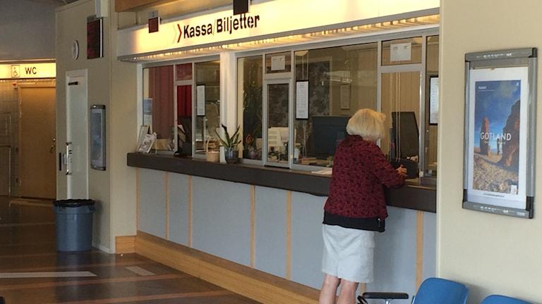 Biljettkassa i hamnterminalen i Visby
