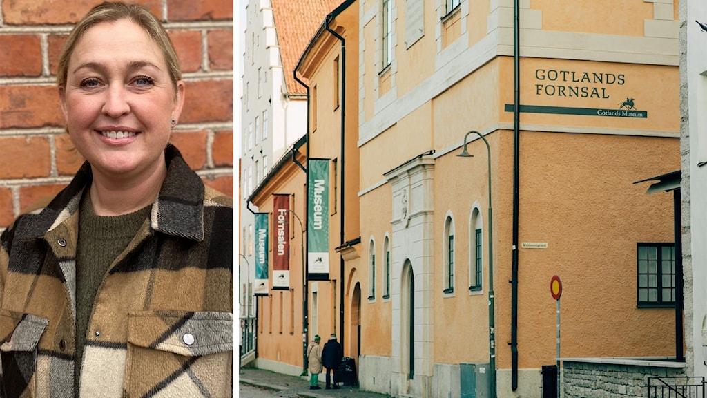 Till vänster: Biträdande museichef Jenny Westfält står framför en tegelvägg. Till höger: Gotlands museums byggnad på Strandgatan i Visby.
