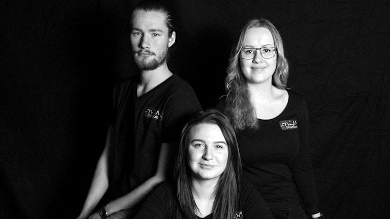 Zebastian Höglund, Tilda Carlsson och Emma Karlsson.