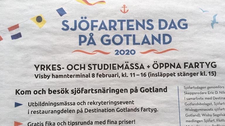 Sjöfartens dag på lördagen i Visby
