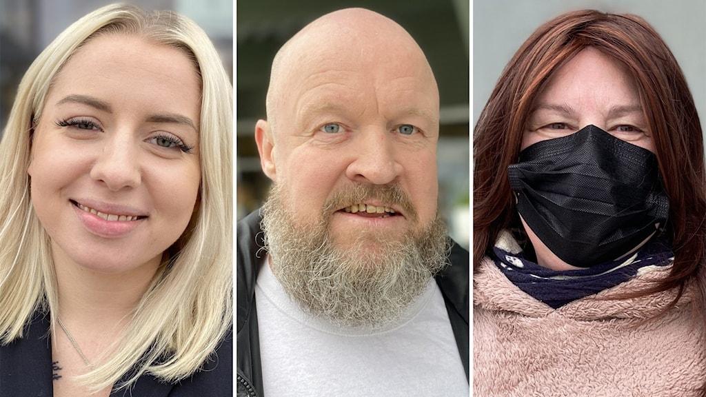 En kvinna med ljust hår, en man med skägg och en kvinna med rött hår och ett svart munskydd.