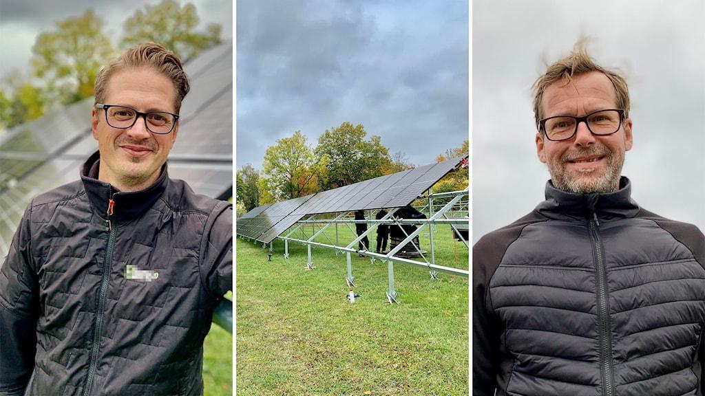 Till vänster: Per-Johan (PJ) Fröjelid, vd Elians; i mitten: solceller; till höger: Håkan Solberg, marknadschef Gotlandssnus .