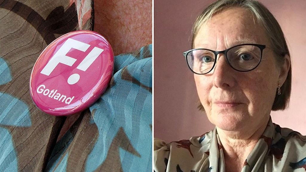 Bilden är tvådelad: Till vänster en rosa knapp med Fi:s logga; till höger Feministiskt initiativs gruppledare på Gotland, Gerd Holmgren.