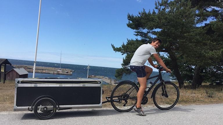 Timo Wörner har cyklat till Gotland rån Tyskland.