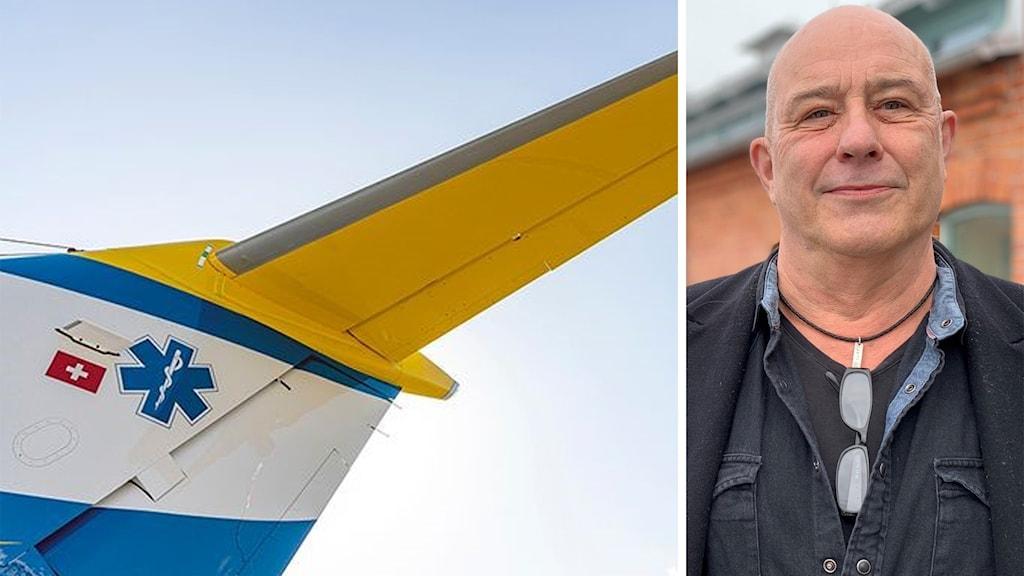 Till vänster: Svenskt ambulansflyg i luften. Till höger: Mats-Ola Rödén står utomhus och tittar in i kameran.