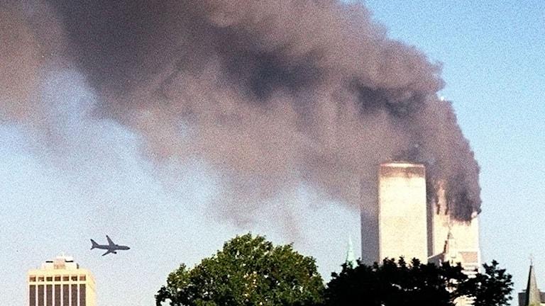 Andra planet är på väg att krascha in i World Trade Center.
