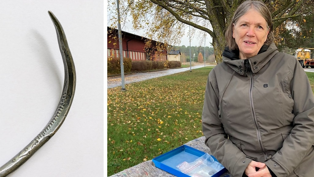 Till vänster: ett fornfynd: Till höger: en kvinna sitter utomhus på hösten.