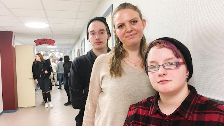 Sonny Lautin, Emelie Öberg, Jonna Nilsson, elever på gymnasiesärskolan Wisbygymnasiet