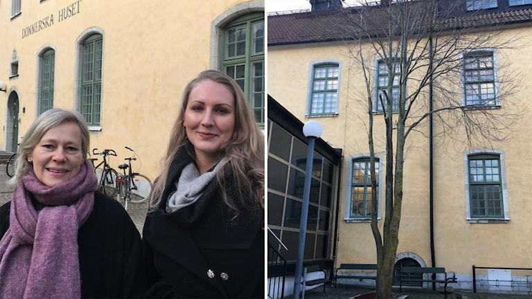 Pernilla Johansson och Magdalena Hultström och ett träd vid Donnerska huset.