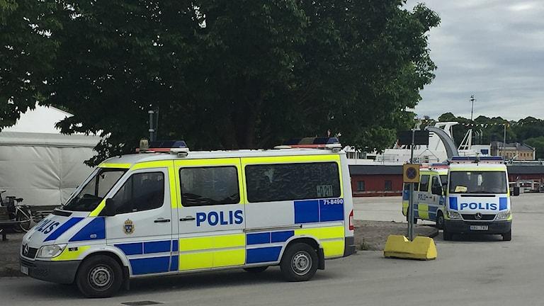 Polisinsats nära Nordfront under Almedalsveckan 2017.