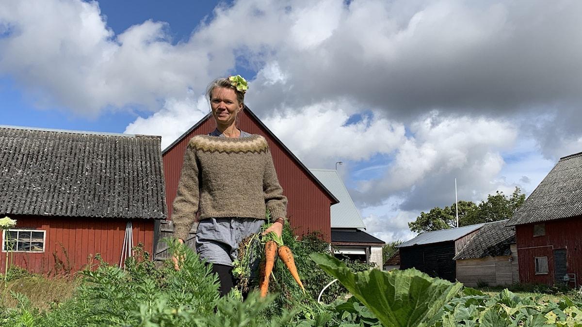 En kvinna med morötter i handen bland gröna blad