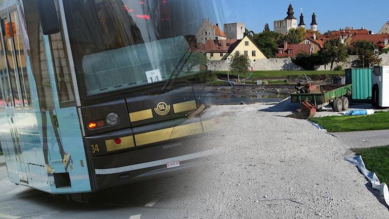 Spårvagn i Visby, Almedalen.