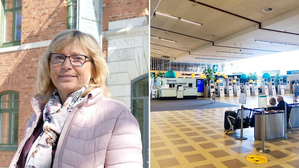 Till vänster: Eva Nypelius (C). Till höger: Bromma flygplats.