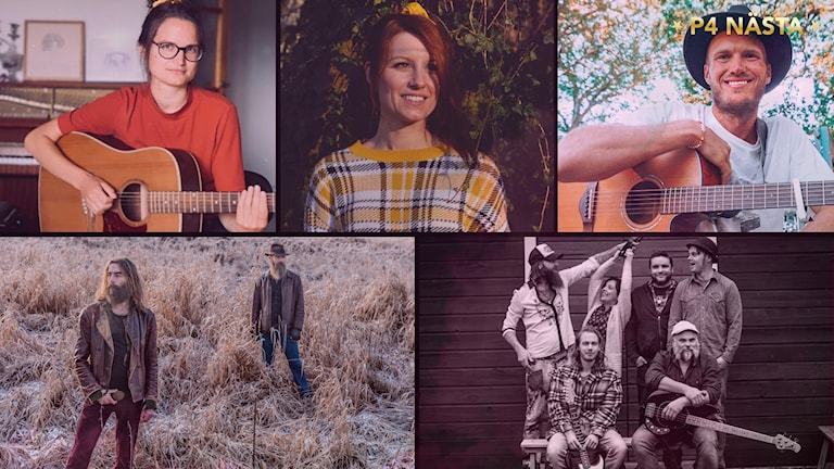 Ett collage av bilder på artister.