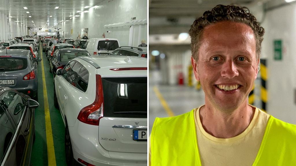 Bilden är tvådelad: Till vänster bilar på bildäck på en färja; till höger: en leende man i reflexväst.q