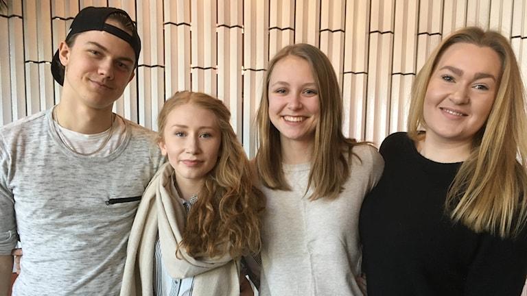 Svante Melander, Amanda Lydahl, Frida Pettersson och Madelene Eliasson.