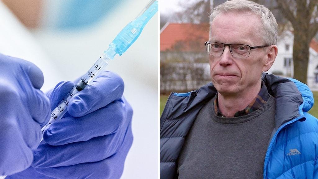 Till vänster: En vaccinspruta. Till höger: En man med glasögon.