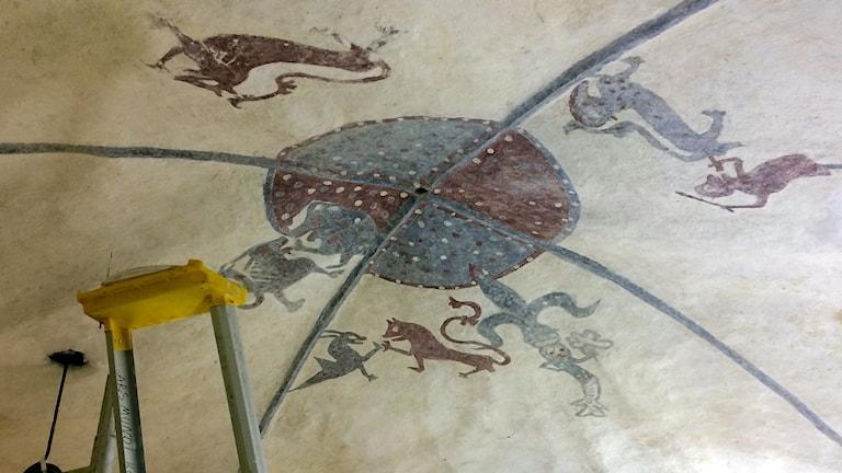 Takmålningar i Vall kyrka.