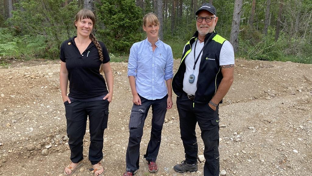 Amanda Overmark från Skogsstyrelsen, Ingrid Thomasson från Länsstyrelsen Gotland och Ingvar Hansson från Skogsstyrelsen vid bibädd på Lilla Hajdes i Fröjel.