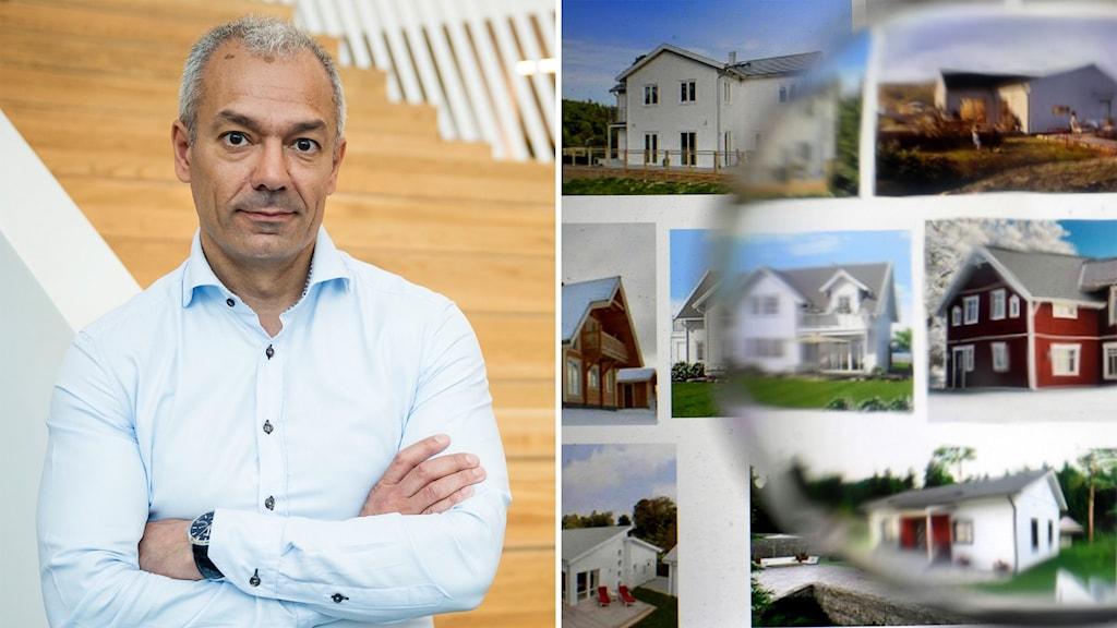 Bilden är tvådelad: Till vänster en man med armarna i kors; till höger ett montage av bilder på hus.
